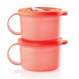 Tupperware CrystalWave PLUS Soup Mug Set NWOT